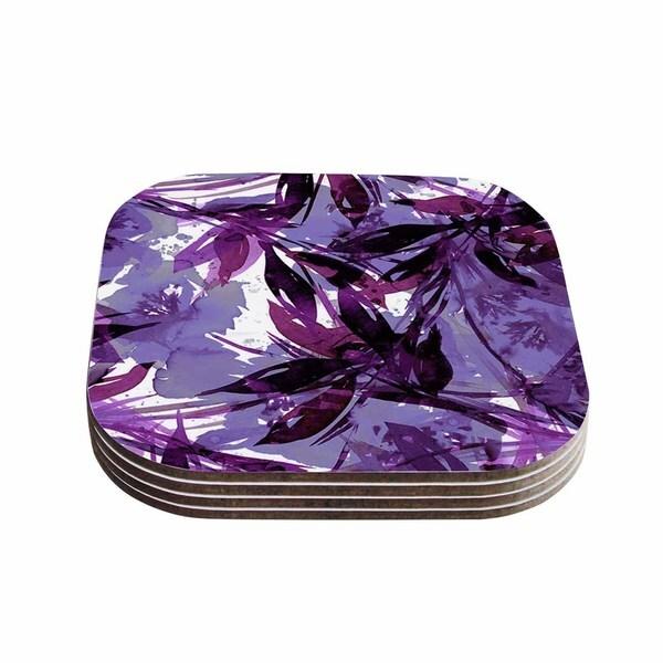 Kess InHouse Ebi Emporium 'Floral Fiesta - Purple Multi' Lavender Watercolor Coasters (Set of 4)