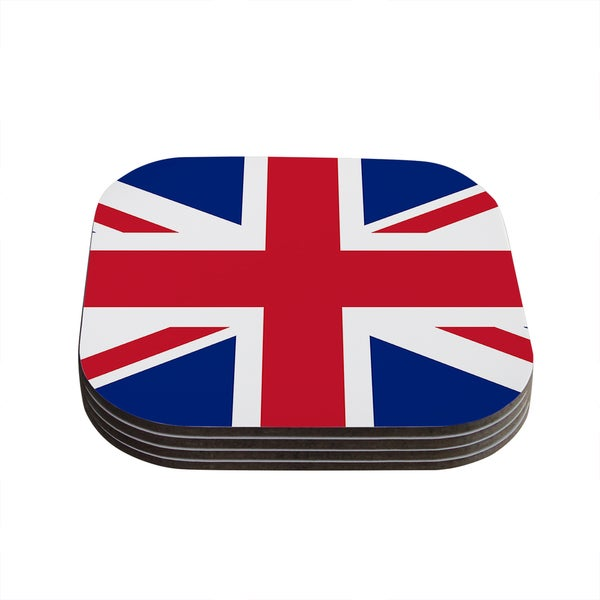 Kess InHouse Bruce Stanfield 'Classic Union Jack' Blue Red Coasters (Set of 4)