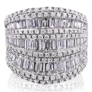 Annello 10k White Gold 2 1/2ct TDW Round and Baguette Diamond Wide Anniversary Ring (H-I, I1-I2)