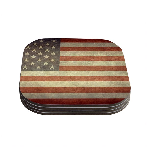 Kess InHouse Bruce Stanfield 'Flag of US Retro' Rustic Coasters (Set of 4)