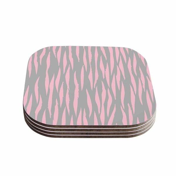 Kess InHouse Wildlife 'Pink Animal Print 12' Gray Painting Coasters (Set of 4)