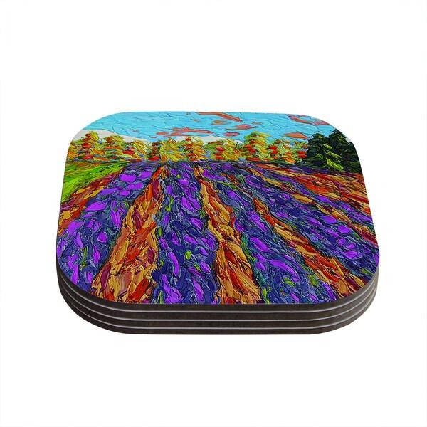Kess InHouse Jeff Ferst 'Flowers in the Field' Orange Purple Coasters (Set of 4)