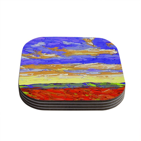 Kess InHouse Jeff Ferst 'After the Storm' Blue Yellow Coasters (Set of 4)