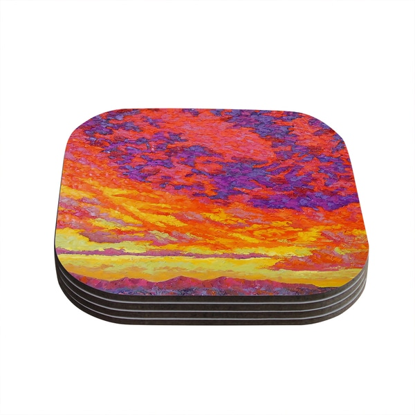 Kess InHouse Jeff Ferst 'View From the Foothills' Orange Purple Coasters (Set of 4)