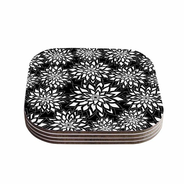 Kess InHouse Julia Grifol 'Black And White Garden' Digital Vector Coasters (Set of 4)