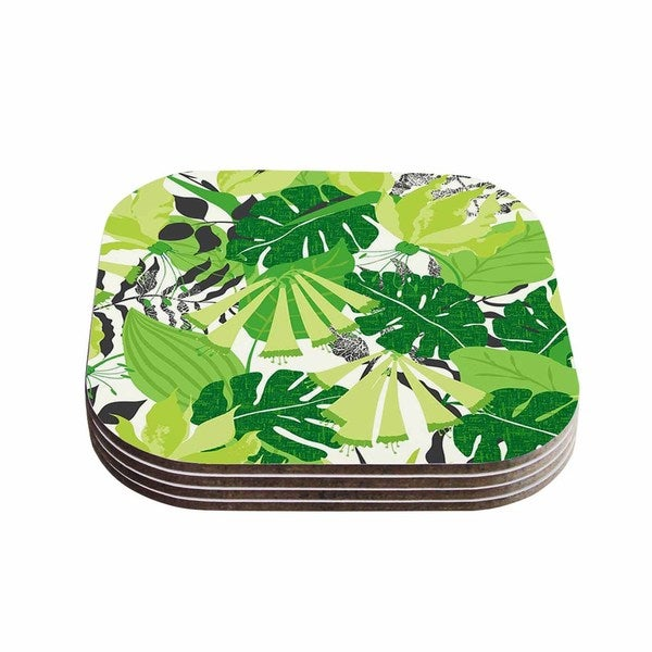 Kess InHouse Jacqueline Milton 'Tropicana - Green' Lime White Coasters (Set of 4)