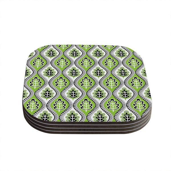 Kess InHouse Jacqueline Milton 'Oak Leaf - Lime' Green Floral Coasters (Set of 4)