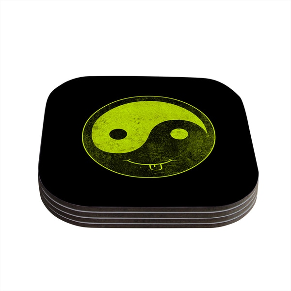 Kess InHouse Frederic Levy-Hadida 'Bad Ass Ying Yang' Coasters (Set of 4)