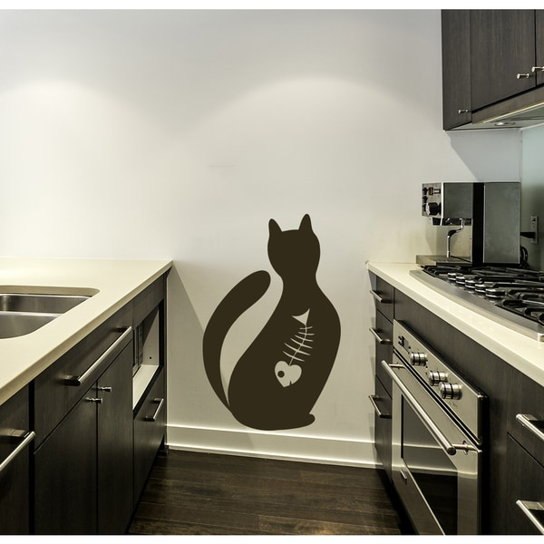 Cat Animal fish skeleton food Wall Art Sticker Decal Brown