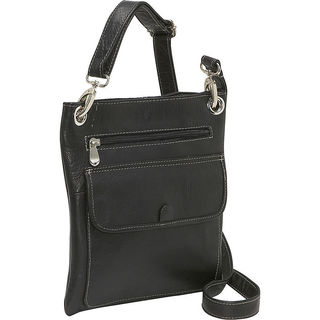 LeDonne Front Flap Leather Crossbody Handbag
