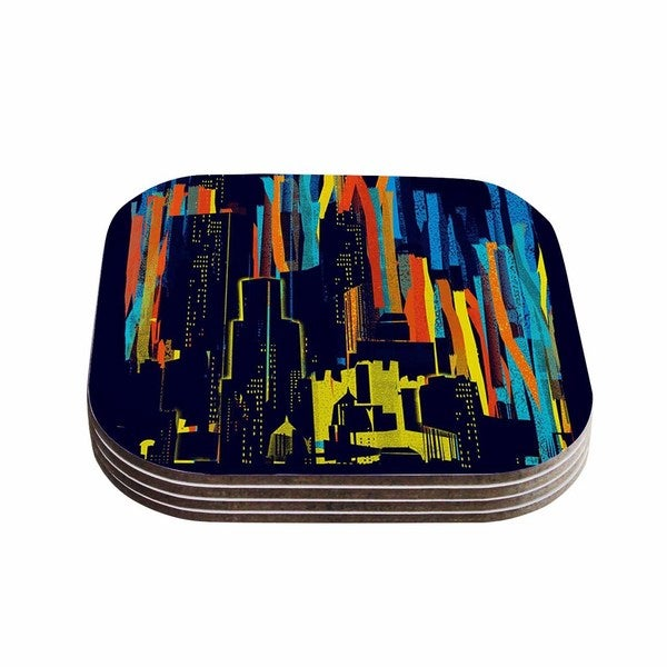 Kess InHouse Frederic Levy-Hadida 'Strippy City' Blue Multicolor Coasters (Set of 4)