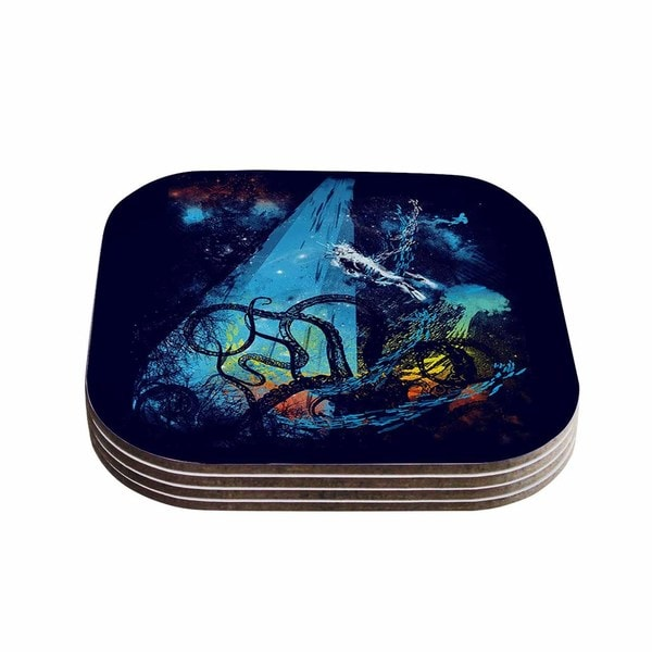Kess InHouse Frederic Levy-Hadida 'Danger from the Deep' Blue Underwater Coasters (Set of 4)