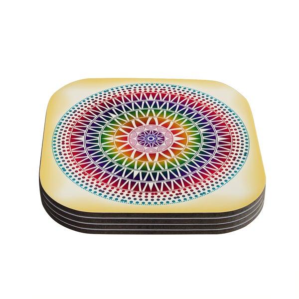 Kess InHouse Famenxt 'Colorful Vibrant Mandala' Rainbow Geometric Coasters (Set of 4)