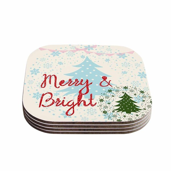 Kess InHouse Famenxt 'Merry And Bright' Holiday Typography Coasters (Set of 4)