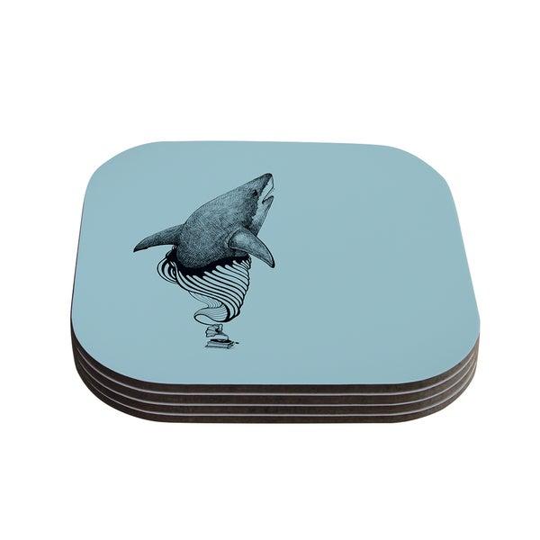 Kess InHouse Graham Curran 'Shark Record II' Coasters (Set of 4)