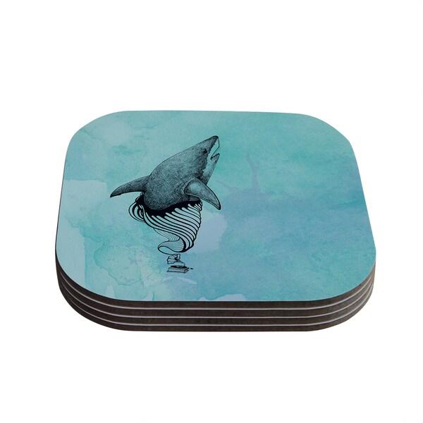 Kess InHouse Graham Curran 'Shark Record III' Coasters (Set of 4)