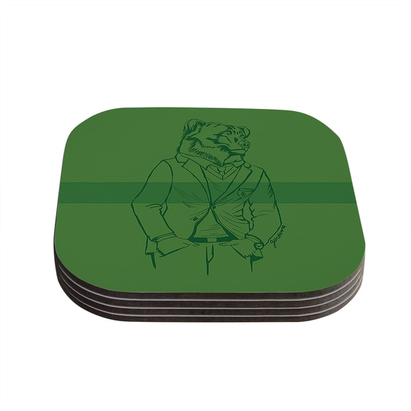 Kess InHouse Geordanna Cordero-Fields 'Dapper Bear Green' Emerald Animal Coasters (Set of 4)