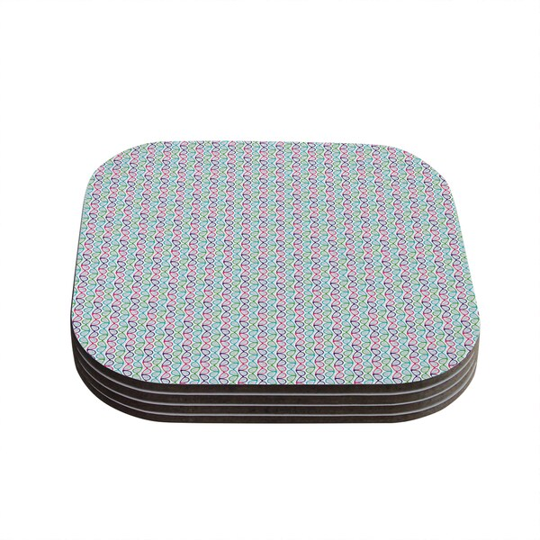 Kess InHouse Holly Helgeson 'Geeky DNA' Pink Blue Coasters (Set of 4)
