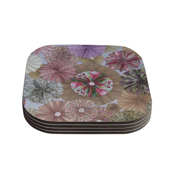Kess InHouse Heidi Jennings 'Pink Lady' Neutral Brown Coasters (Set of 4)