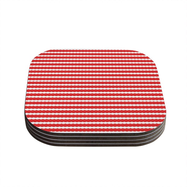 Kess InHouse Heidi Jennnings 'Feeling Festive' Red White Coasters (Set of 4)