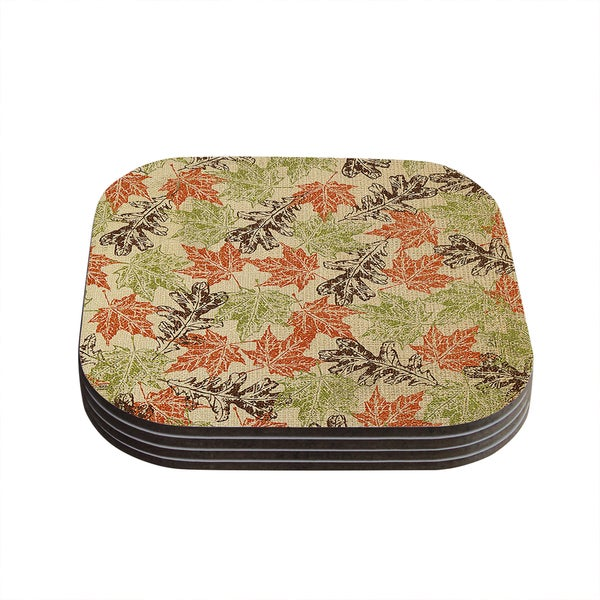 Kess InHouse Heidi Jennings 'Leaf it to Me' Green Brown Coasters (Set of 4)