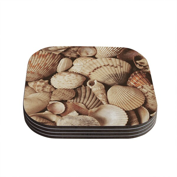 Kess InHouse KESS InHouse Shells Brown Wood Coasters (Set of 4)