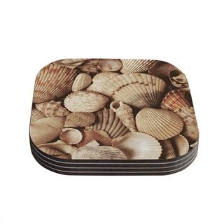 Kess InHouse KESS InHouse Shells Brown Wood Coasters (Set of 4)