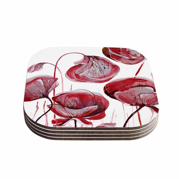 Kess InHouse Ivan Joh 'Poppies' Watercolor Red Coasters (Set of 4)