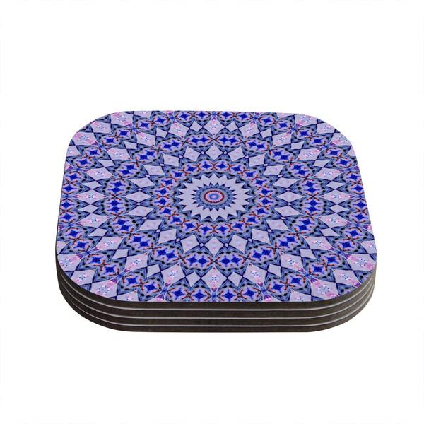 Kess InHouse Iris Lehnhardt 'Kaleidoscope Blue' Circle Blue Coasters (Set of 4)