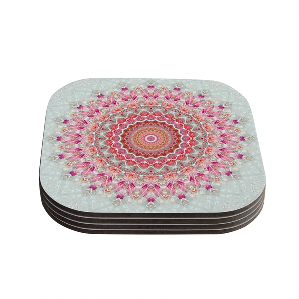 Kess InHouse Iris Lehnhardt 'Summer Lace III' Circle Pink Green Coasters (Set of 4)