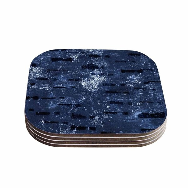 Kess InHouse Iris Lehnhardt 'Tex Mix Blue' Abstract Blue Coasters (Set of 4)