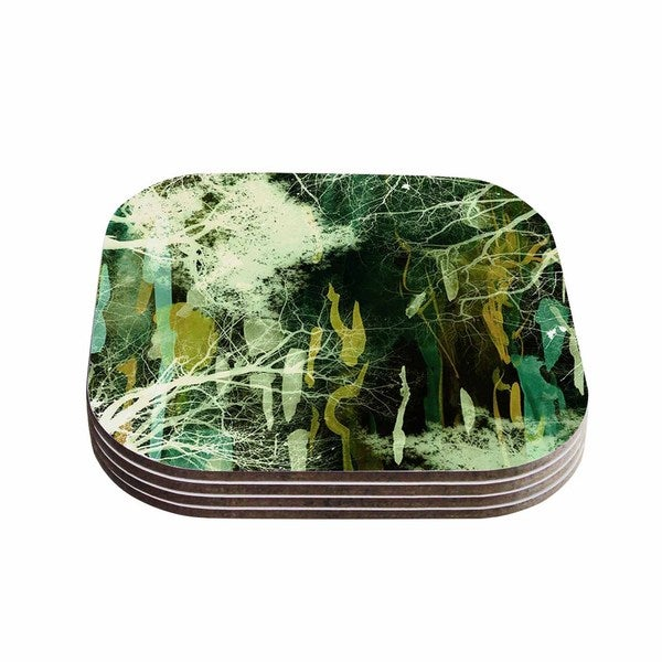 Kess InHouse Iris Lehnhardt 'Tree Of Life Green' Nature Green Coasters (Set of 4)