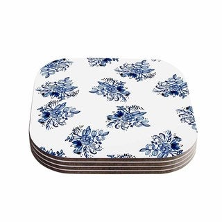 KESS InHouse Blue Garden Flowers Wood 4-inch x 4-inch x .75-inch Gloss-sealed Coasters (Pack of 4)