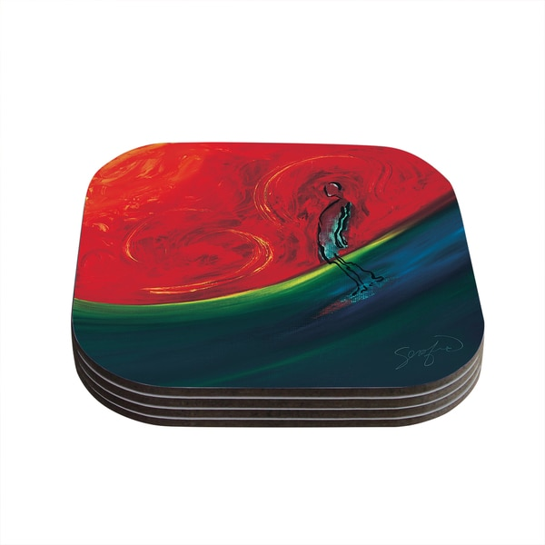 Kess InHouse Josh Serafin 'Glide' Red Blue Coasters (Set of 4)