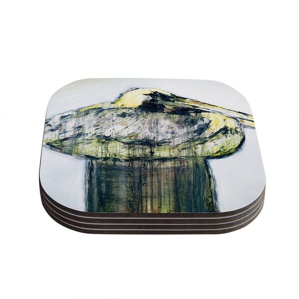 Kess InHouse Josh Serafin 'Oldtimer' White Bird Coasters (Set of 4)