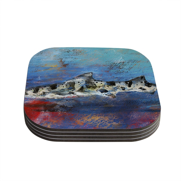 Kess InHouse Josh Serafin 'Sea Leopard' Blue Shark Coasters (Set of 4)