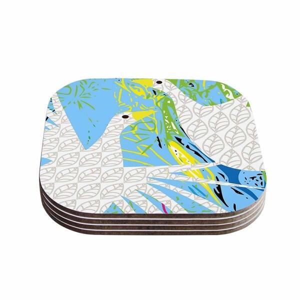 Kess InHouse Pattern Muse 'Pond Birds' Blue White Coasters (Set of 4)
