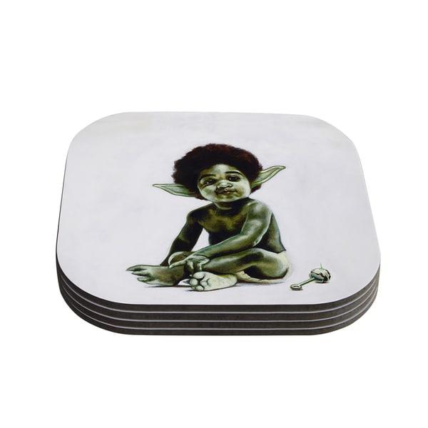 Kess InHouse Jared Yamahata 'Ready to JEDI' Pop Art Green Coasters (Set of 4)
