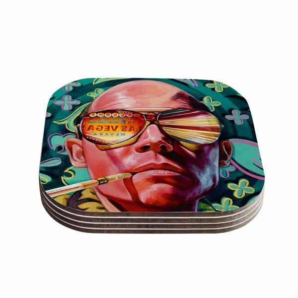 Kess InHouse Jared Yamahata 'Bad Trip' Pop Art Floral Coasters (Set of 4)