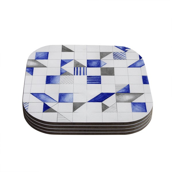 Kess InHouse Kira Crees 'Winter Geometry' White Blue Coasters (Set of 4)