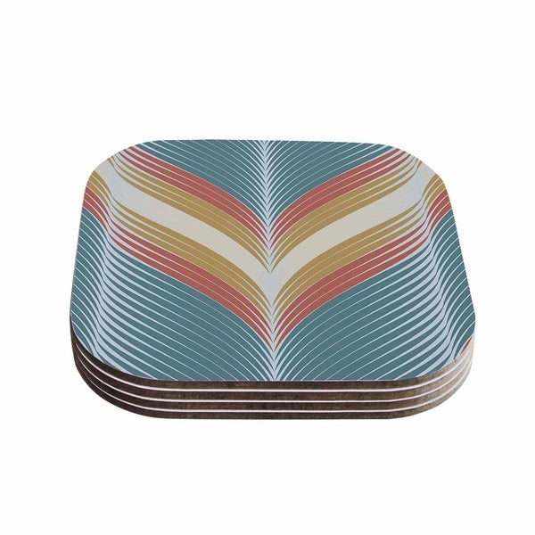 Kess InHouse Karina Edde 'Wavy Chevron' Blue Wood Coasters (Pack of 4)