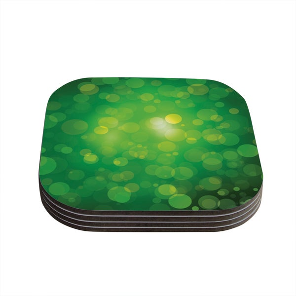 Kess InHouse KESS Original 'Radioactive' Green Bokeh Coasters (Set of 4)