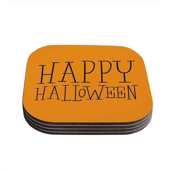 Kess InHouse KESS Original 'Happy Halloween - Orange' Coasters (Set of 4)