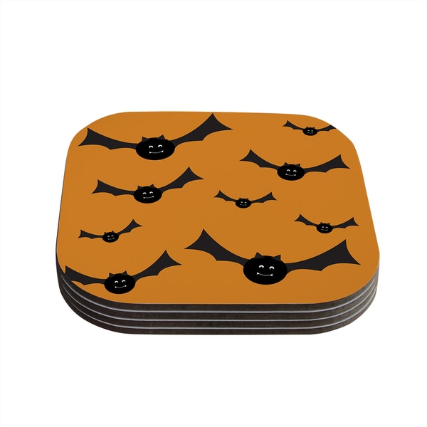 Kess InHouse KESS Original 'Going Batty' Coasters (Set of 4)