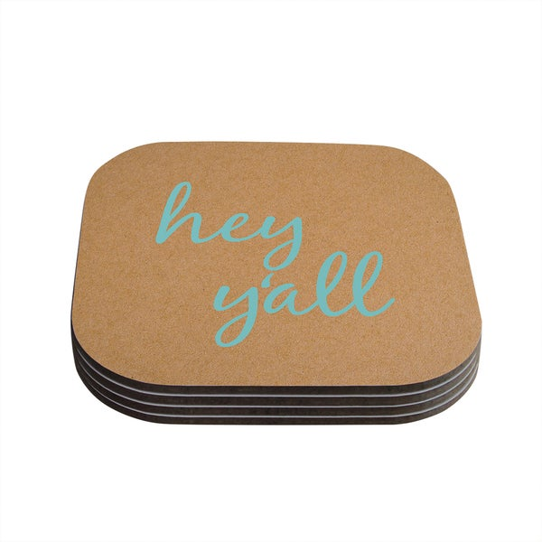 Kess InHouse KESS Original 'Hey Y'all' Brown Blue Coasters (Set of 4)