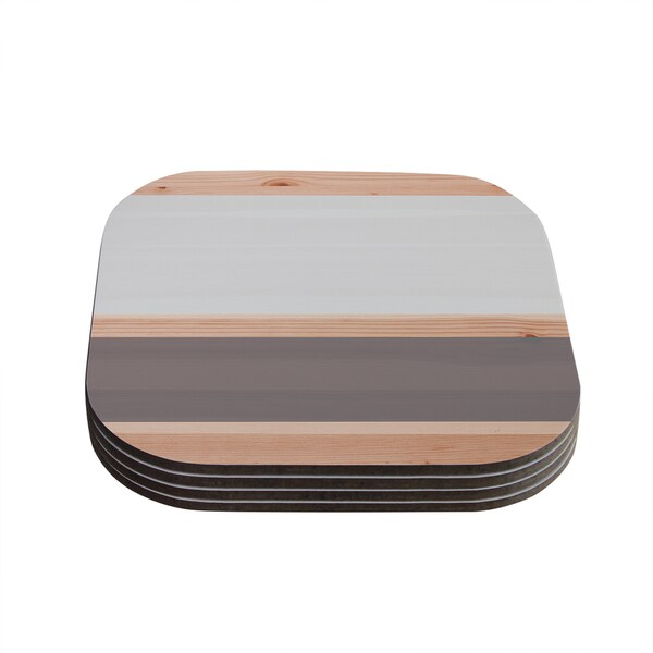 Kess InHouse Kess InHouse Original Spring Swatch Grey Wood Coasters (Pack of 4)