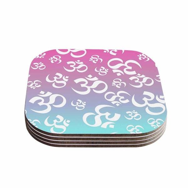 Kess InHouse KESS Original 'OHM My Pastels' Pink Aqua Coasters (Set of 4)