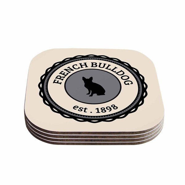 Kess InHouse KESS Original 'French Bulldog' Beige Dog Coasters (Set of 4)