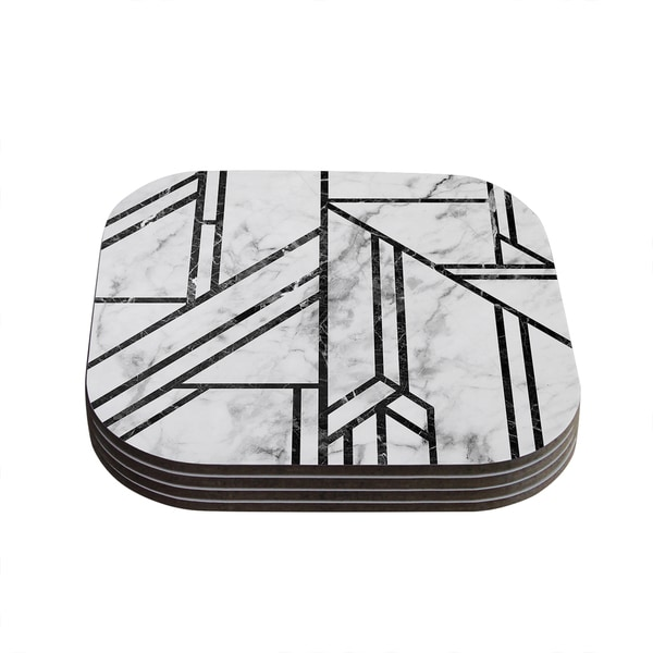 Kess InHouse KESS Original 'Black Marble Mosaic' Geometric Modern Coasters (Set of 4)