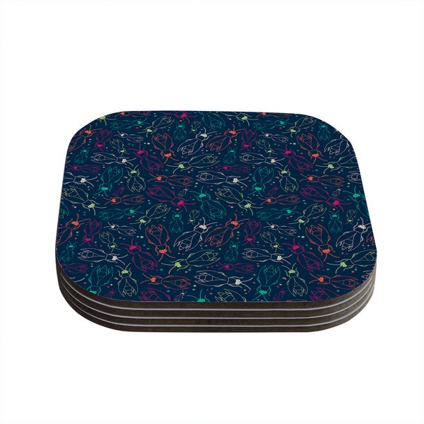 Kess InHouse Laura Escalante 'Fireflies Midnight Garden' Dark Blue Coasters (Set of 4)
